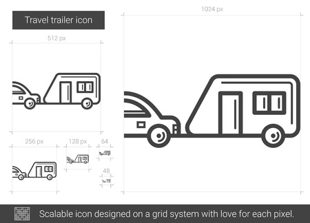 Travel trailer line icon. Illustration
