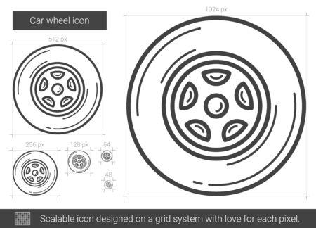 Car wheel line icon.