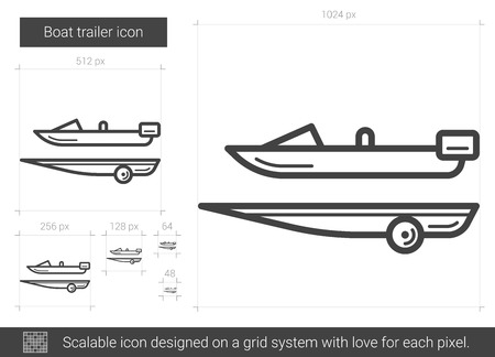 Boat trailer line icon.