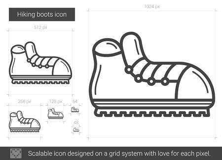 Icono de línea de botas de senderismo. Foto de archivo - 80157718