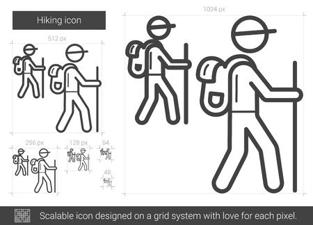 scalable: Hiking line icon. Illustration