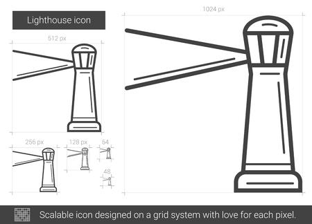 beacon: Lighthouse line icon. Illustration