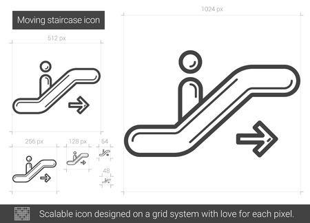 Moving staircase line icon. Illustration