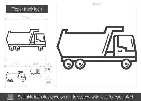 dumps: Tipper truck line icon.