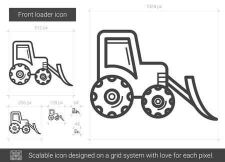 excavate: Front loader line icon.