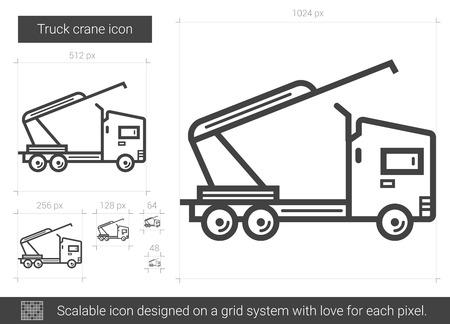 device: Truck crane line icon. Illustration