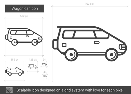 family van: Wagon car line icon.
