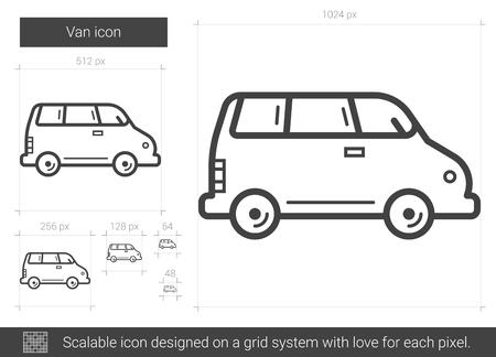 family van: Van line icon.