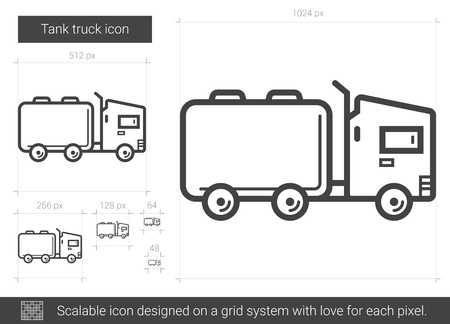 Tank truck lijn pictogram. Stock Illustratie