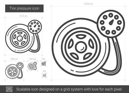 scalable: Tire pressure line icon.