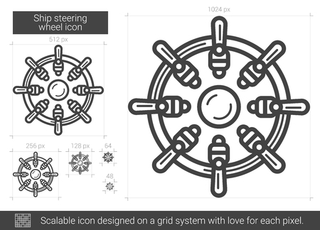 scalable: Ship steering wheel line icon.