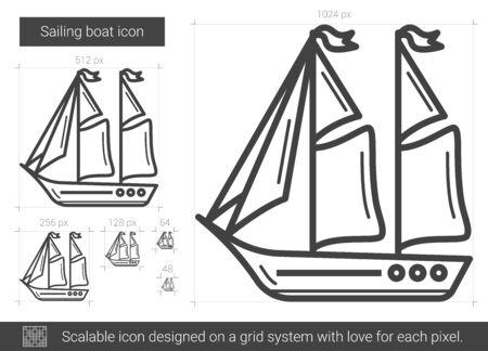 Sailing boat line icon.