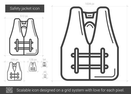 Safety jacket line icon.