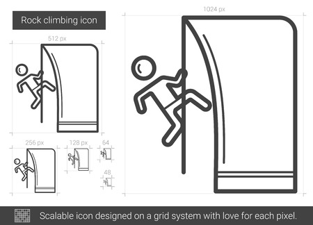 CHALLENGING: Rock climbing line icon. Illustration
