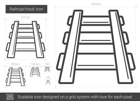 drawn metal: Railroad track line icon. Illustration