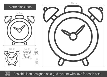 Alarm clock line icon.