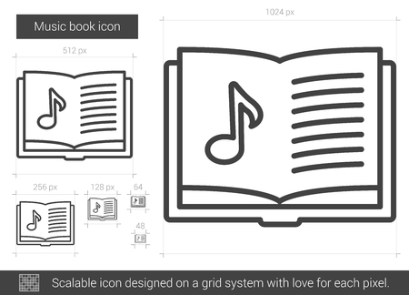 open notebook: Music book line icon. Illustration