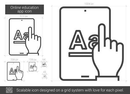 university application: Online education app line icon. Illustration