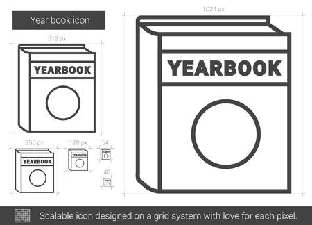 photo album: Year book line icon.