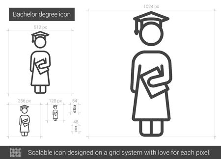 Bachelor degree line icon. 矢量图像