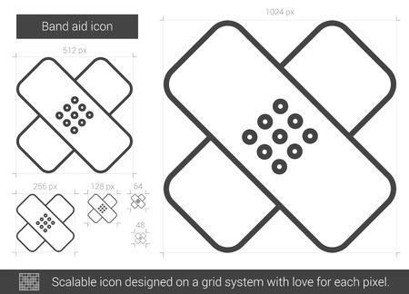 assisting: Band aid line icon.