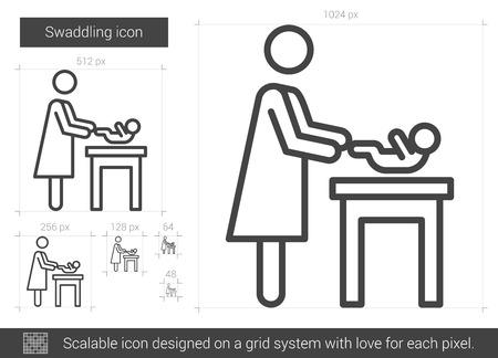 swaddling: Swaddling line icon. Illustration
