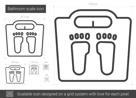bathroom scale: Bathroom scale line icon. Illustration
