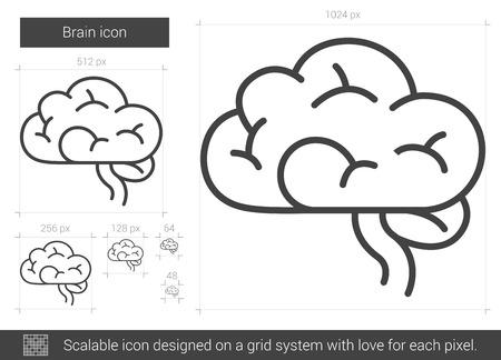 Brain line icon. Illustration