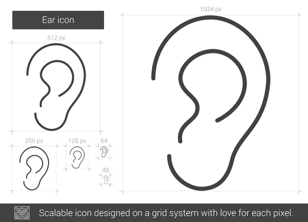 hearing aid: Ear line icon.