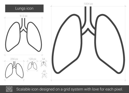 Lungs line icon. Illustration