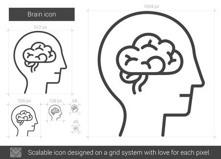 lobe: Brain line icon. Illustration