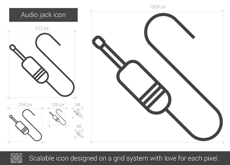 electric grid: Audio jack vector line icon isolated on white background. Audio jack line icon for infographic, website or app. Scalable icon designed on a grid system.