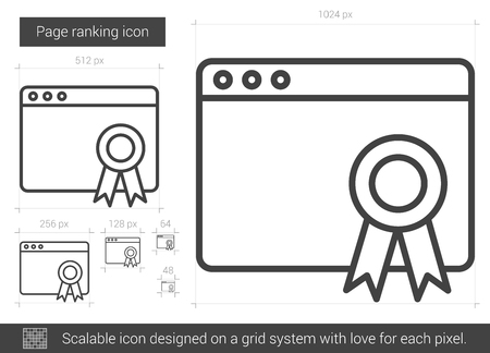 Page ranking line icon for infographic, website or app. Scalable icon designed on a grid system.