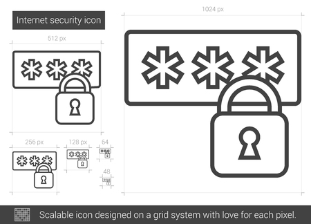 Internet security line icon for infographic, website or app. Scalable icon designed on a grid system. Ilustrace