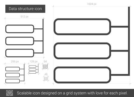 Data structure vector line icon isolated on white background. Illusztráció