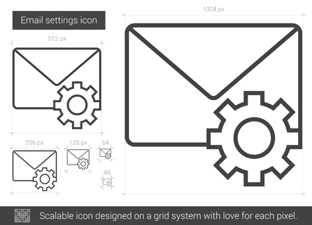 parameters: Email settings line icon for infographic, website or app. Scalable icon designed on a grid system. Illustration