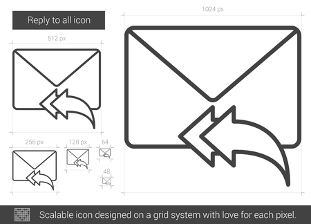 Reply to all line icon. Vettoriali
