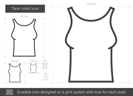 Tank t-shirt line icon.