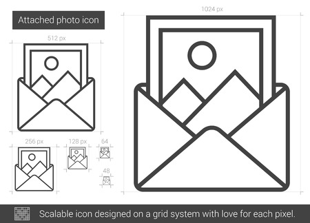 Attached photo vector line icon isolated on white background. Attached photo line icon for infographic, website or app. Scalable icon designed on a grid system. Reklamní fotografie - 80242434