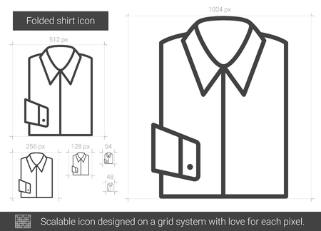 cuff: Folded shirt vector line icon isolated on white background. Folded shirt line icon for infographic, website or app. Scalable icon designed on a grid system.