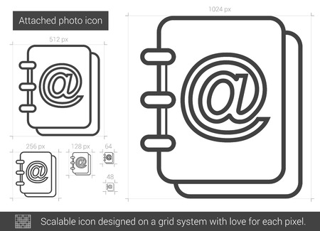 Attached photo vector line icon isolated on white background. Attached photo line icon for infographic, website or app. Scalable icon designed on a grid system. Illustration