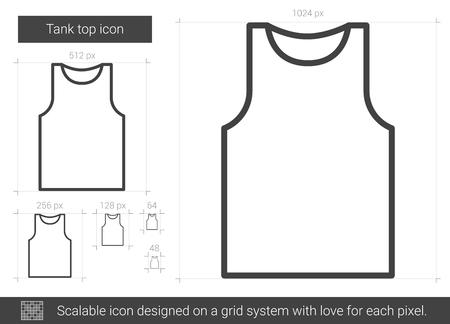 흰색 배경에 고립 된 탱크 탑 벡터 라인 아이콘. 인포 그래픽, 웹 사이트 또는 앱의 탱크 탑 아이콘 그리드 시스템에서 설계된 확장 가능한 아이콘.