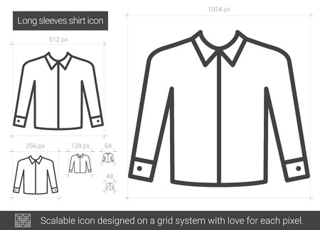 Long sleeves shirt vector line icon isolated on white background. Long sleeves shirt line icon for infographic, website or app. Scalable icon designed on a grid system.