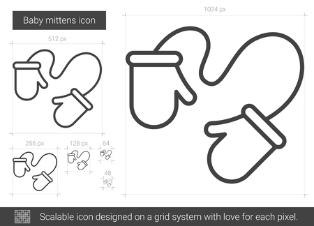 Baby mittens vector line icon isolated on white background. Baby mittens line icon for infographic, website or app. Scalable icon designed on a grid system.