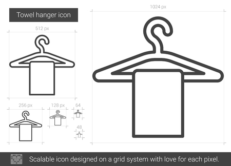 hangers: Towel hanger vector line icon isolated on white background. Towel hanger line icon for infographic, website or app. Scalable icon designed on a grid system. Illustration