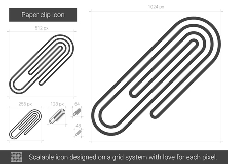 metal grid: Paper clip vector line icon isolated on white background. Paper clip line icon for infographic, website or app. Scalable icon designed on a grid system.