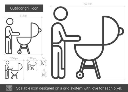 metal grid: Outdoor grill vector line icon isolated on white background. Outdoor grill line icon for infographic, website or app. Scalable icon designed on a grid system.