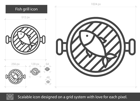 Fish grill vector line icon isolated on white background. Fish grill line icon for infographic, website or app. Scalable icon designed on a grid system. Illustration