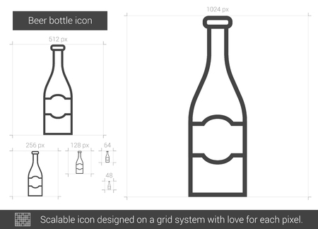 Beer bottle line icon. 版權商用圖片 - 80260549