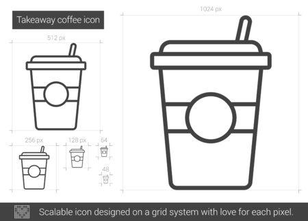 Takeaway coffee line icon. 矢量图像
